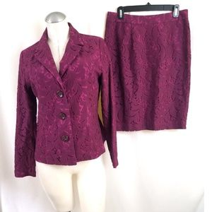 CAbi Size 6 Skirt Suit Purple Pink Lace Overlay
